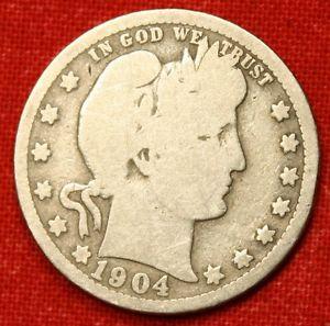 1904 P Barber Silver Quarter